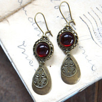 Old Hollywood Earrings - Ruby