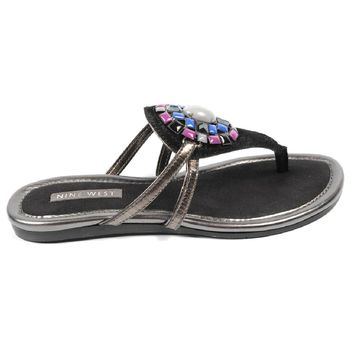 Nine West Womens Flat Sandal NWWEYLIN BLACK BLK