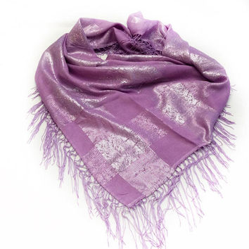 SALE Large Lavender Shawl with Fringe, Fashion Scarf, Mother's Day Gift for Mother in law, Birthday gift for Sister in law Best Seller item