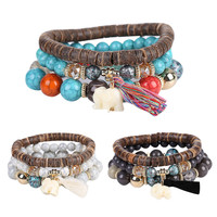 Fashion Multilayer Charm Elephant Resin Beads Tassels Bracelets for Women