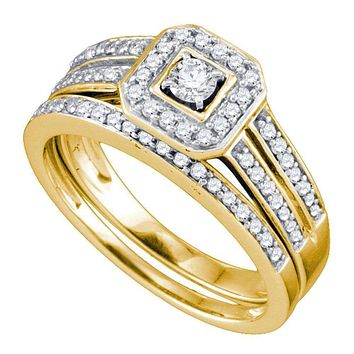 14kt Yellow Gold Women's Round Diamond Square Halo Bridal Wedding Engagement Ring Band Set 1/2 Cttw - FREE Shipping (US/CAN)