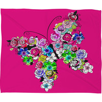 Mary Beth Freet Ink Blossoms Butterfly Fleece Throw Blanket
