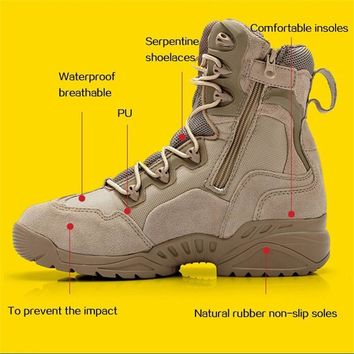 New Winter Men Tactical Combat Sports Outdoor Boots Male Army Military Desert Botas Travel Leather Hiking Shoes Sneakers