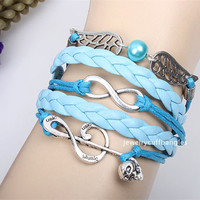 Dogan leather cord bracelet accessories combination Happy notes infinite woven bracelets, couple jewelry bracelet QNW8025