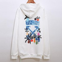 Off White New fashion letter arrow print hooded long sleeve sweater top White