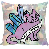 haters crystal cat cosmic kitten meme cute sassy feminist print pillow