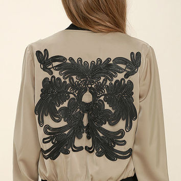 Ata Swirl Black and Taupe Embroidered Bomber Jacket