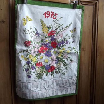 tea towel england vintage 1975 floral birth year calender butterfly  dish cloth kitchen retro cotton green
