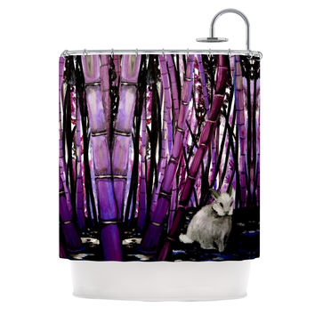 "Theresa Giolzetti ""Bamboo Bunny"" Purple Black Shower Curtain"