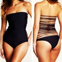 Finejo New Style String Back One Piece Swimsuit black
