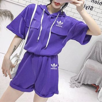 Adidas Women Loose Casual Fashion Hooded Short Sleeve Pullover Hoodie Shorts Set Two-Piece Sportswear