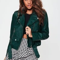 Missguided - Green Ultimate Biker Jacket