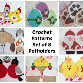 8 potholders set 1. Amigurumi Crochet Patterns - 4 Pdf files by Zabelina Etsy
