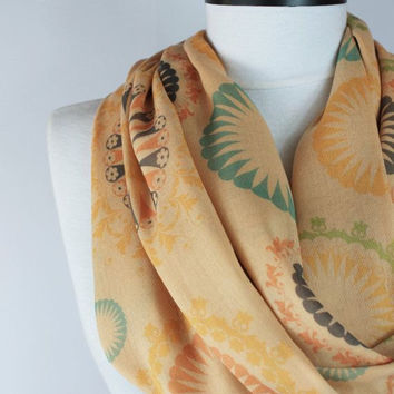 boho cream scarf,infinity scarf, scarf, scarves, long scarf, loop scarf, gift