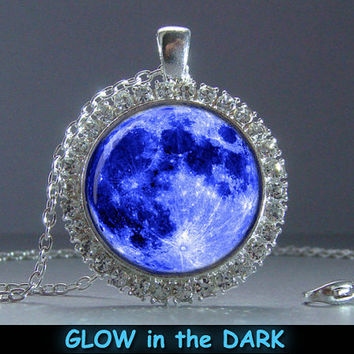 Glowing Pendant With Crystals Blue Moon, Pendant Glow in the DARK, Glowing Jewelry, Glowing Necklace, Glowing Photo