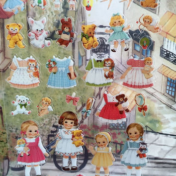 adorable toddler girl sticker lovely little girl retro toy shop Paper doll mate Vintage doll sweet dolly dress doll dress up sticker gift