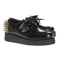 UNDERGROUND  Wulfrun Single Sole Black Leather Spikes  Studded leather creepers  - Accessories