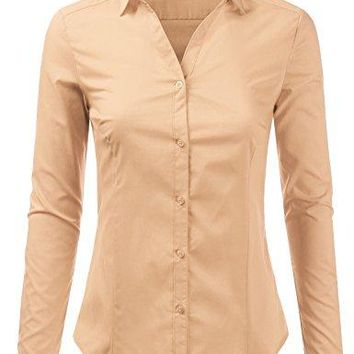 Foryous Women Button Down Shirt Long Sleeve Blouses Slim Fit Plus Size