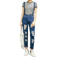 2016 Women's loose holes ripped denim overalls Girl's suspenders jumpsuits Casual jeans