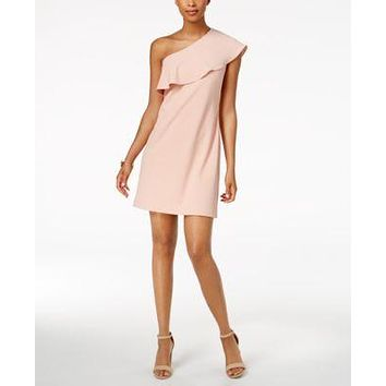 $99 New Julia Jordan Women's One Shoulder Ruffled Blush Pink Tunic Dress Size 16
