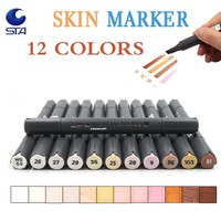 STA 12 Colors Sketch Skin Tones Marker Pen Artist Double Headed Alcohol Based Manga Art Markers brush pen for School Supplies