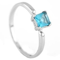 Sterling Silver Princess Cut March Aquamarine Birthstone Child Ring Size 3