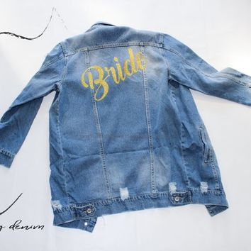 Bride Long DENIM JACKET, Future Mrs Denim jacket, Bachelorette party Gift, Ladies Jackets, Wife Jacket, wedding jacket, DENIM Outwear, Txt65