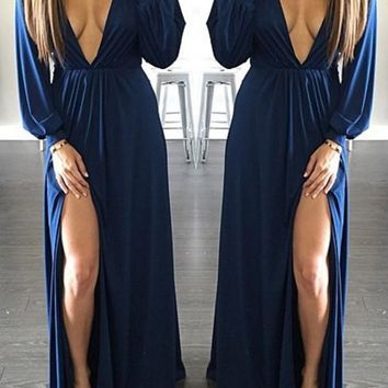 Navy Blue Side Slit Plunging Neckline Long Sleeve Maxi Dress