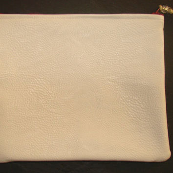 White vinyl (leather like) zippered pouch by Miss Patch