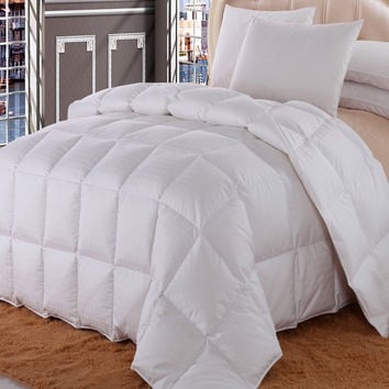 Royal Hotel Dobby Checkered Goose Down Comforter Four Seasons Fill