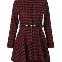 Red Plaid Belted Dip Hem Shirt Dress