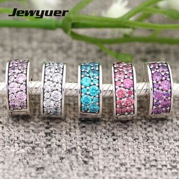 Jewyuer summer collection 925 Sterling Silver clip charms Elegance Fancy mixing color beads fit charm bracelet bangle DIY KT051