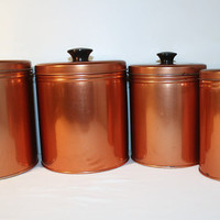 Set of Copper Colored Canisters, Kitchen Storage Containers with Lid
