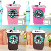 Coffee Cup Starbucks Silicone Back Cover For iPhone 5 5S 5c 6 6 plus