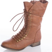 Embrace the Laces Combat Boots - Tan from Breckelles at Lucky 21