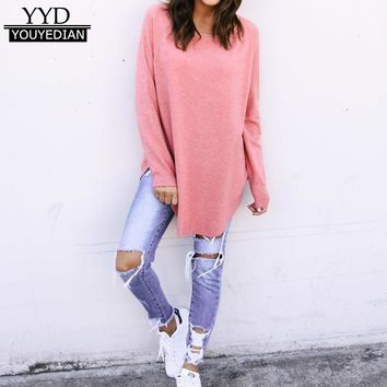 Long Style Irregular T-shirts Women Tshirt 2018 New Arrival Long Sleeve Casual T-Shirt Side Split Casual Tee Tops Pink *1208