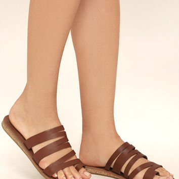 Steve Madden Hestur Cognac Leather Sandals