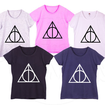 """Deathly Hallows"" Harry potter Funny Fashion Geek Humour Gift Ladies Tshirt"