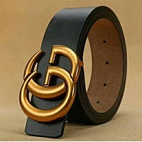 GUCCI Woman Men Fashion Trending Smooth Buckle Belt Leather Belt High Quality Black