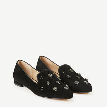 Selita Jeweled Suede Loafers | Ann Taylor