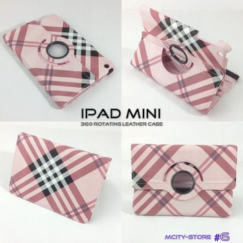 IPad Mini Cover Luxury Stripes Pattern 360 Degree Smart Rotating PU Leather Case - Pink Black White Checker