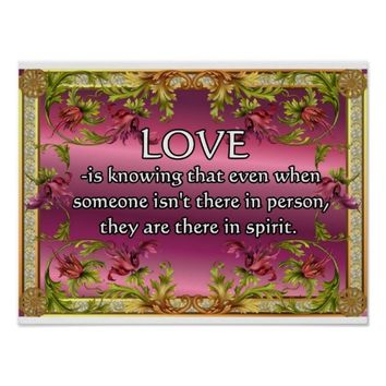 Love is.....poem on purple back with flower frame