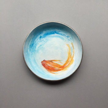 Swimming Fish Dish, Trinket Dish, Ring Holder, Hand Painted Fish Art, Jewelry Organizer, Key Container, Modern Blue Dish, Gifts for Women