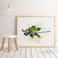 Yoda, Star Wars Watercolor Art Print