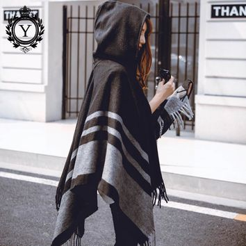 COUTUDI 2017 Winter Hooded Ponchos and Capes Women's Scarves Tassel Striped Hood Poncho with Hat Pashmina Cashmere Shawls Wraps