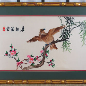 Chinese Embroidered Silk Gold Faux Bamboo Frame Eagle Cherry Blossoms