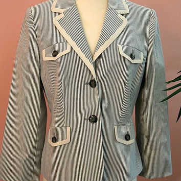 Anne Taylor  Denim Blue and White  Four Pocket Pin Striped Blazer Size 6