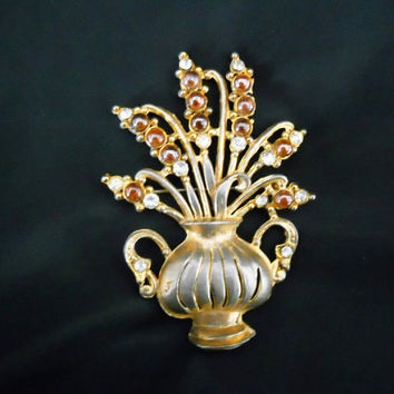 Vintage 1940s Brooch - 40s Large Pin with Rhinestones