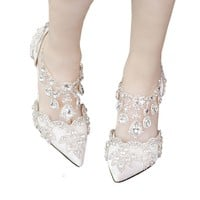 A super red high-heeled summer diamond wedding shoes shoes bride hollow crystal shoes fringed white sandal strap