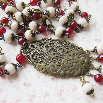 Red with ivory necklace, beaded necklace, vintage style jewelry, gift for her, long, romantic, Europe